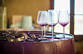 Used Red Wine Glasses at Winery