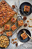 Christmas cake with walnuts in caramel