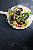 Polenta, cheese and mushroom pizza