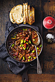 Balsamic lamb stew with beans