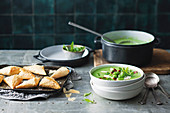 Pea and broad bean soup with crispy bacon