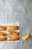 Puff pastry sticks with garlic and gruyere cheese