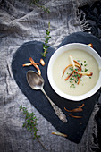 Parsnip soup with roasted parsnip on top