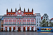 Rostock town hall with Gothic brick wall and baroque porch