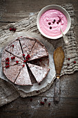 Chocolate cake with lingonberry whipped cream