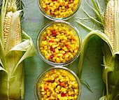 Sweetcorn relish in glass jars