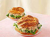 Bread rolls with crab meat salad