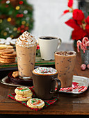 Four different wintery coffee drinks