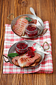Grilled pancetta with cranberry sauce