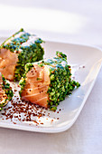 Salmon in a herb coating