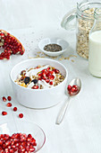 Muesli with milk, oats, cereals, chia seeds, pomegranate seeds, grated coconut and cranberries