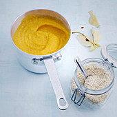 Millet, pumpkin and apple purée