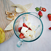 Strawberries, melons and bananas in a blender for making purée