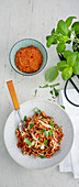 One pot pasta with minced meat, courgette and carrots