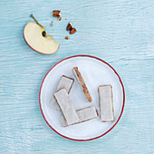 Apple bars with edible paper
