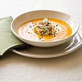 Carrot soup with Dungeness crab