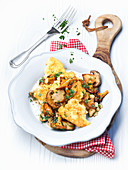Potato hash with mushrooms and parsley