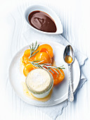 Quark soufflé with apricot and praline sauce