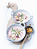 Cream of radicchio soup with Fontina cheese