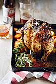 Beer-can chicken with rosemary
