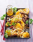 Crispy beef salad with oranges (Asia)