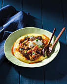 Mediterranean aubergine and tomato stew with polenta