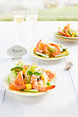 Iceberg lettuce with prawns, smoked salmon and mango (Australia)