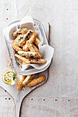 Crispy fried courgette fries with aioli
