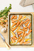 Oven roasted carrots (top view)
