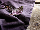 Detail shot of purple basil leaves on a rich purple linen and rustic wood surface