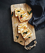 Pumpkin ricotta frittata on a chopping board