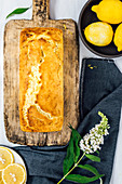 Lemon zucchini bread on a wooden board