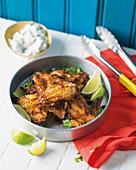 Tandoori chicken wings with raita