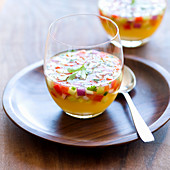 Gazpacho with pineapple in glasses