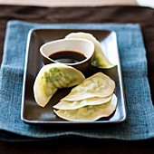 Wontons filled with edamame and soy sauce