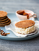 Stroopwafel with ice cream and salted caramel sauce