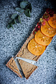 Vegan persimmon tart with chia seeds