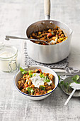 Beef and chickpea stew with lentils