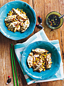 Pork dumplings with corn and ginger stir-fry