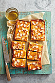 Sticky apricot, lemon and polenta bars