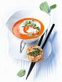 Tomato and coconut soup with shrimp croutons