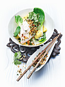 Grouper in coconut milk with pak choi and pineapple chunks