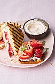 Grilled strawberry cake sandwiches with creme fraiche