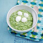 Green courgette rice with mini mozzarella