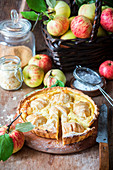 Apple pie with quark filling, sliced