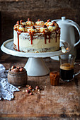 Carrot cake with baked cheesecake filling and caramel