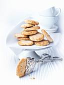 Almond macaroons on a cake stand