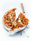 Mushroom and bacon pizza