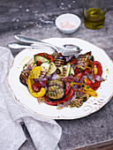 Grilled vegetables with herbs and salt