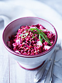 Beetroot and bulgur salad with feta and spring onions